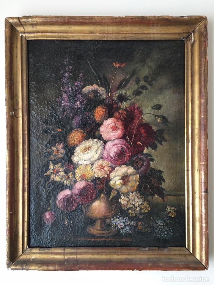 ANTIGUO ÓLEO SOBRE LIENZO - FLORERO - BODEGÓN DE FLORES - SIGLO XVIII (Arte - Pintura - Pintura al Óleo Antigua siglo XVIII)