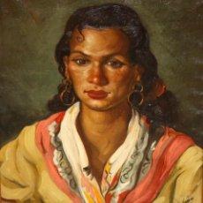 Arte: FEDERICO MOLINA ALBERO (BARCELONA, 1905 - MALLORCA, 1981) OLEO SOBRE TELA. RETRATO DE UNA GITANA. Lote 218595720