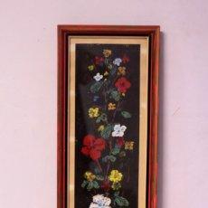 Arte: LOPEZ MOLINA, FLORES DE COLORES. FORMATO VERTICAL. BUENA CALIDAD, FIRMADO Y ENMARCADO. 25X70CM. Lote 218601163