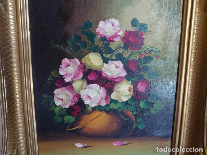 Arte: OLEO SOBRE TABLA BODEGON ROSAS AÑOS 50 - Foto 2 - 218615972