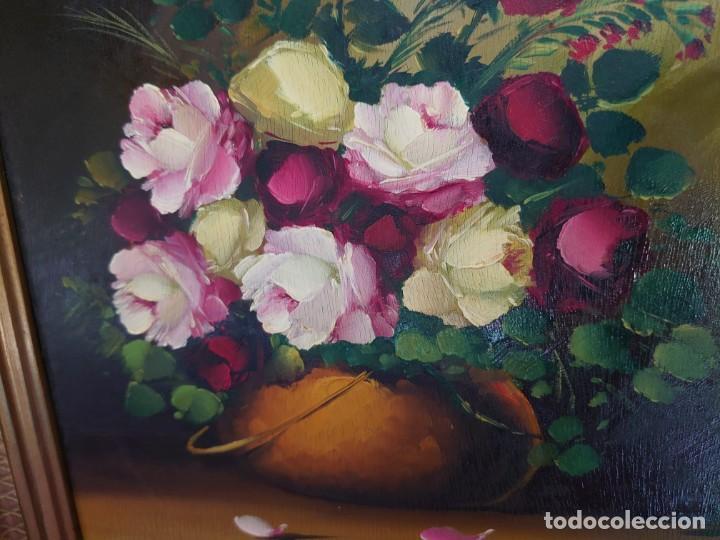 Arte: OLEO SOBRE TABLA BODEGON ROSAS AÑOS 50 - Foto 3 - 218615972