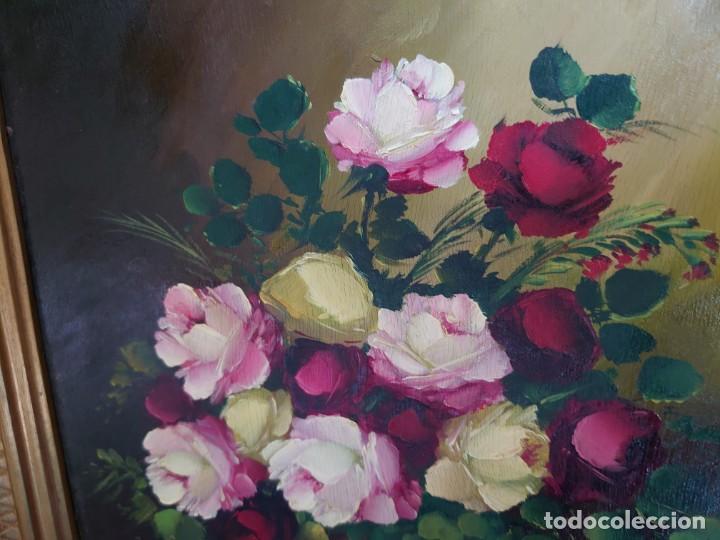 Arte: OLEO SOBRE TABLA BODEGON ROSAS AÑOS 50 - Foto 4 - 218615972