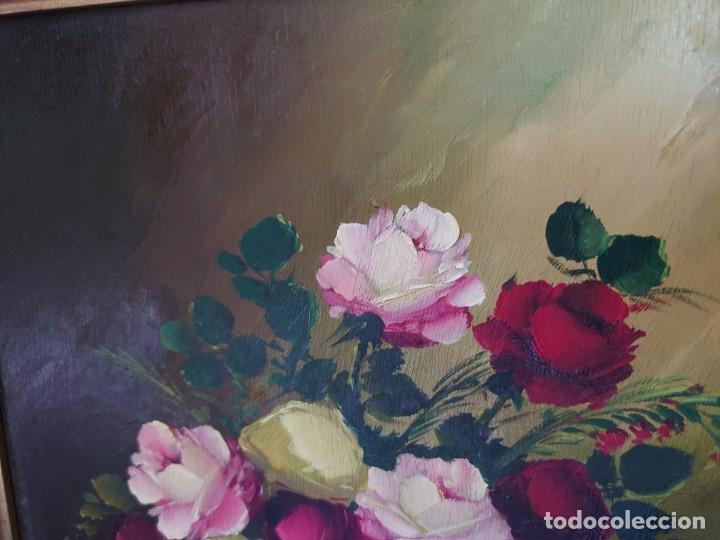 Arte: OLEO SOBRE TABLA BODEGON ROSAS AÑOS 50 - Foto 5 - 218615972