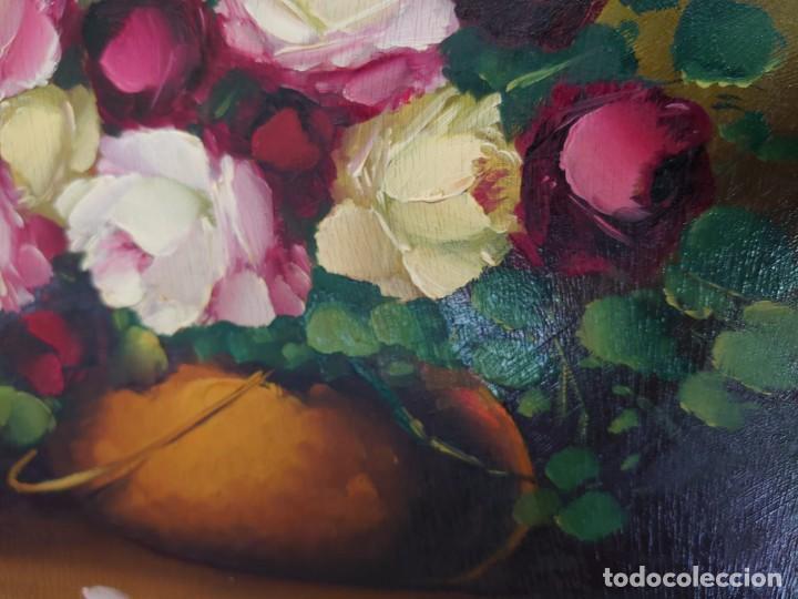 Arte: OLEO SOBRE TABLA BODEGON ROSAS AÑOS 50 - Foto 6 - 218615972