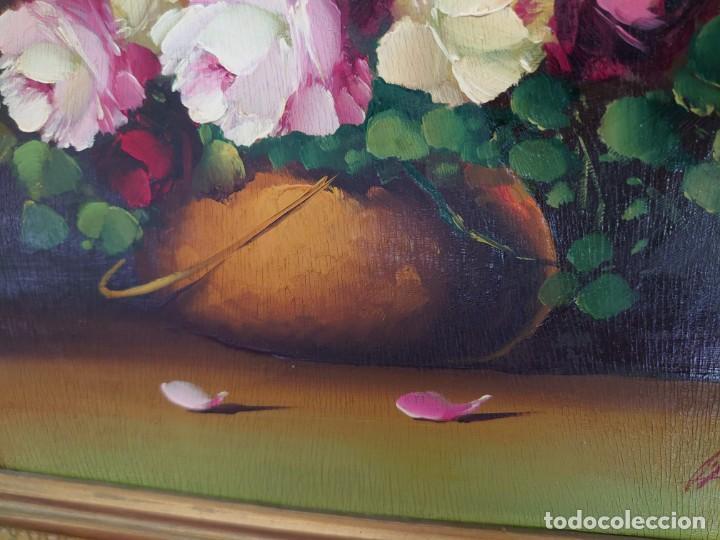 Arte: OLEO SOBRE TABLA BODEGON ROSAS AÑOS 50 - Foto 7 - 218615972
