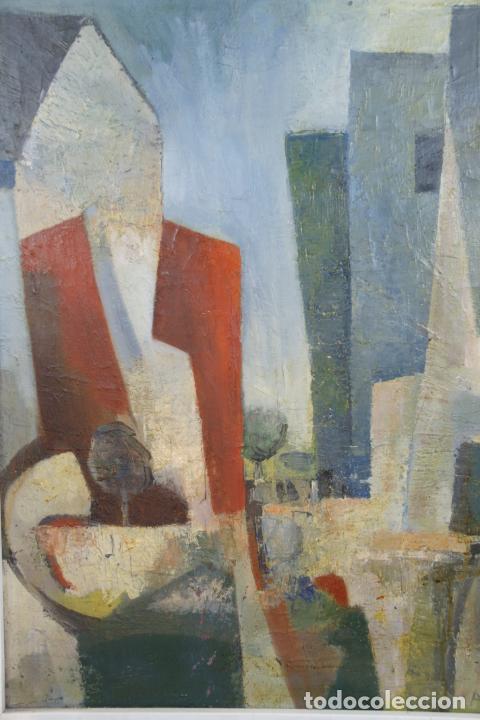 Arte: Oleo sobre lienzo abstracto. Cubismo. Firmado. Enmarcado. - Foto 2 - 218630793