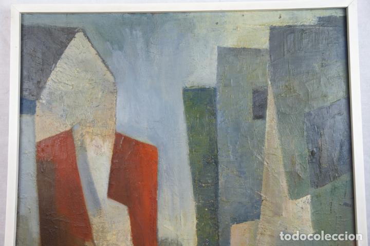 Arte: Oleo sobre lienzo abstracto. Cubismo. Firmado. Enmarcado. - Foto 5 - 218630793