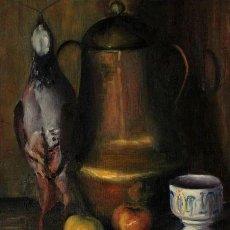 Arte: LUIS ADELANTADO, S.XX - BODEGÓN, ESCUELA ESPAÑOLA. FIRMADO A MANO - 1955. Lote 218631321