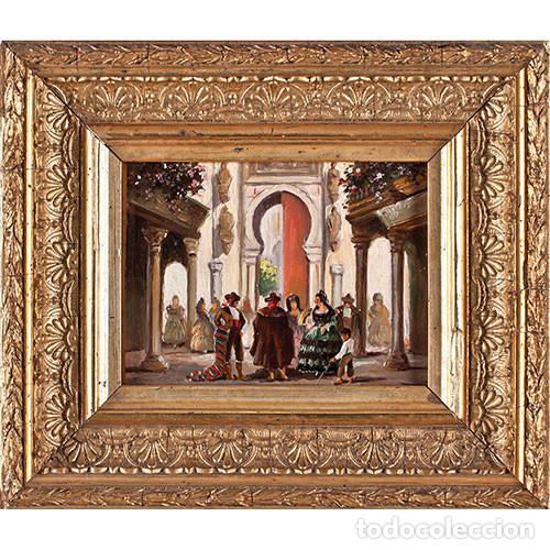JOSÉ ALMONTE GALLEGO (SEVILLA, 1898-1989). RINCÓN ANDALUZ. ÓLEO SOBRE COBRE FIRMADO. (Arte - Pintura - Pintura al Óleo Moderna sin fecha definida)