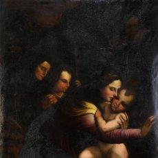 Arte: ÓLEO SOBRE LIENZO VIRGEN CON NIÑO, SAN JUANITO Y SANTA ANA ESCUELA ITALIANA SIGLO XVI. Lote 218670482