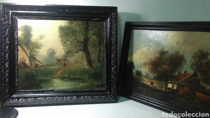PINTURA ANTIGUA OLEO SOBRE TABLA PISAJES FINALES SIGLO XIX (Arte - Pintura - Pintura al Óleo Moderna siglo XIX)