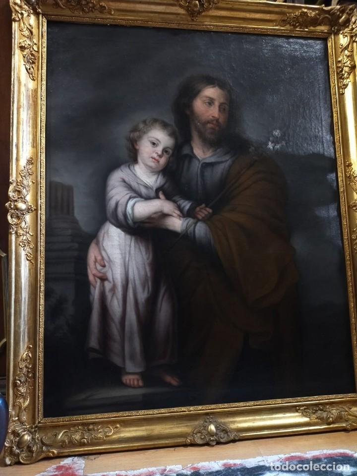 CUADRO ANTIGUO SAN JOSE Y EL NIÑO (Arte - Pintura - Pintura al Óleo Antigua siglo XVII)