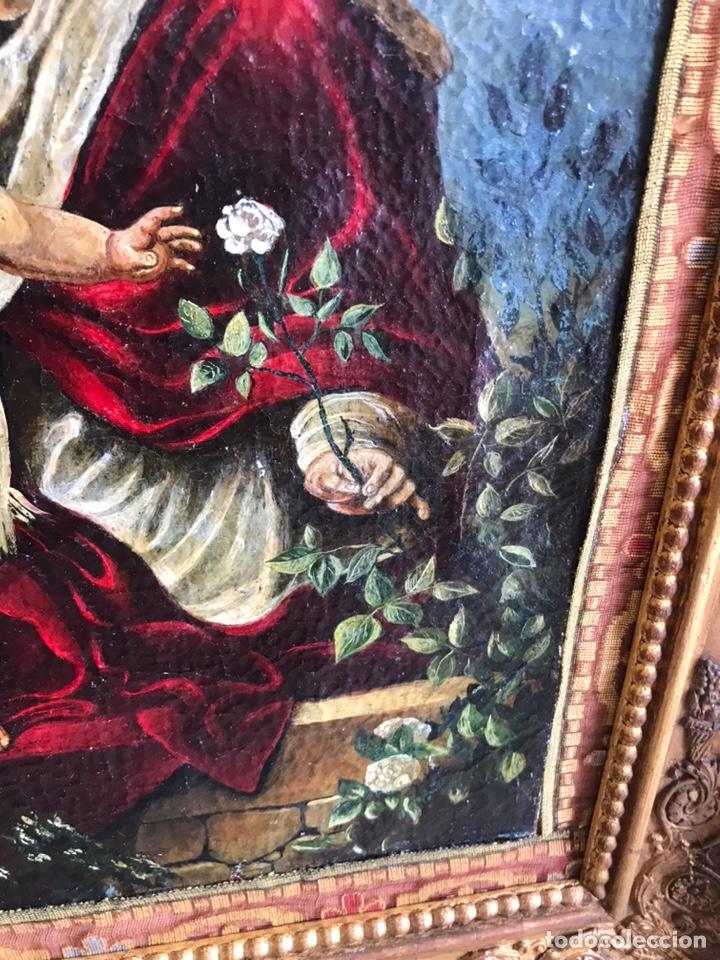 Arte: Óleo del Religioso pegado en una base de madera. Virgen con niño. puede ser del XVIII restaurado. - Foto 3 - 218748517