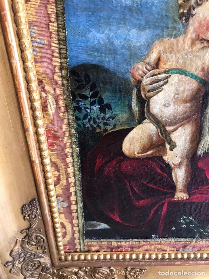 Arte: Óleo del Religioso pegado en una base de madera. Virgen con niño. puede ser del XVIII restaurado. - Foto 4 - 218748517