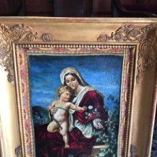 Arte: ÓLEO DEL SIGLO XVIII - ESCUELA ESPAÑOLA - VIRGEN CON EL NIÑO - RESTAURADO. Lote 218748517