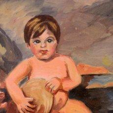 Arte: JORGE GUILLEMOT. GRUPO PONT DE FUSTA (ESCUELA VALENCIANA) NIÑO CON EL PAN DEBAJO DEL BRAZO. Lote 218789680