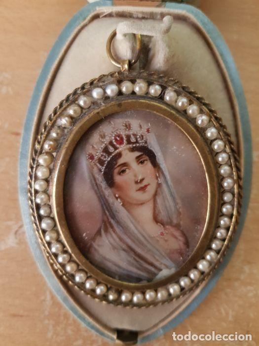 Arte: Pintura única - miniaturas de la esposa de Napoleón - Bronce, nácar - principios siglo XIX - Foto 3 - 218825506