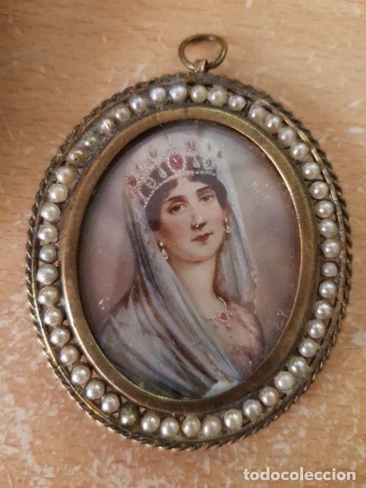 Arte: Pintura única - miniaturas de la esposa de Napoleón - Bronce, nácar - principios siglo XIX - Foto 5 - 218825506