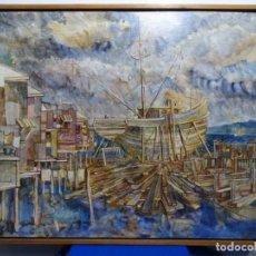Arte: GRAN ÓLEO EN TABLA.JUAN BERNAL PONCE (VALPARAÍSO, CHILE 1938-SAN JOSÉ, COSTA RICA 2006.. Lote 218847540