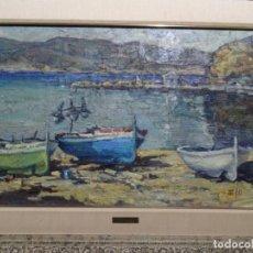 Arte: ÓLEO SOBRE TABLA DE EMILI MORGUI CABAL.BARQUES I EL CASTELLAR, LLANÇA.1981. Lote 218847791