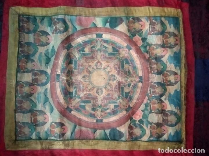 Arte: Óleo sobre lienzo, cuadro antiguo de Tíbet del siglo 18-19 - Foto 2 - 218887048