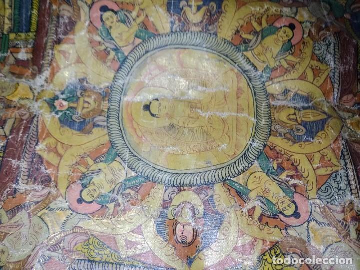 Arte: Óleo sobre lienzo, cuadro antiguo de Tíbet del siglo 18-19 - Foto 4 - 218887048