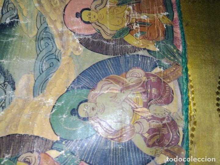 Arte: Óleo sobre lienzo, cuadro antiguo de Tíbet del siglo 18-19 - Foto 5 - 218887048