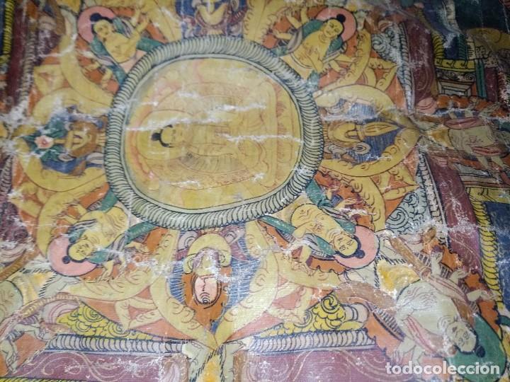Arte: Óleo sobre lienzo, cuadro antiguo de Tíbet del siglo 18-19 - Foto 6 - 218887048