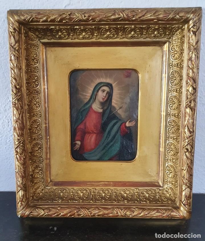 VIRGEN DOLOROSA - SIGLO XVIII - COBRE - 40 X 36 CM - GRAN MARCO. (Arte - Pintura - Pintura al Óleo Antigua siglo XVIII)
