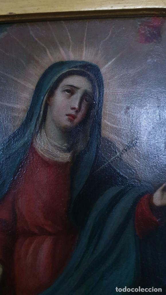 Arte: VIRGEN DOLOROSA - SIGLO XVIII - COBRE - 40 X 36 CM - GRAN MARCO. - Foto 2 - 218894163