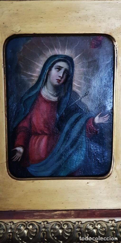 Arte: VIRGEN DOLOROSA - SIGLO XVIII - COBRE - 40 X 36 CM - GRAN MARCO. - Foto 4 - 218894163