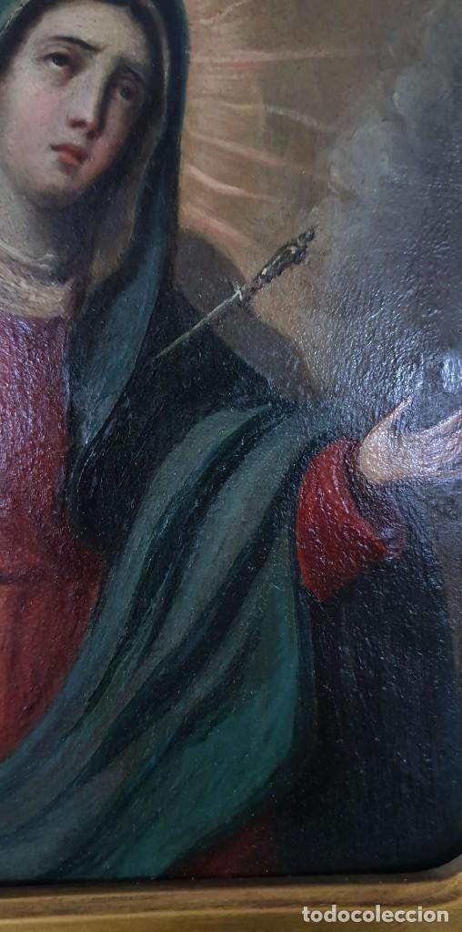 Arte: VIRGEN DOLOROSA - SIGLO XVIII - COBRE - 40 X 36 CM - GRAN MARCO. - Foto 7 - 218894163