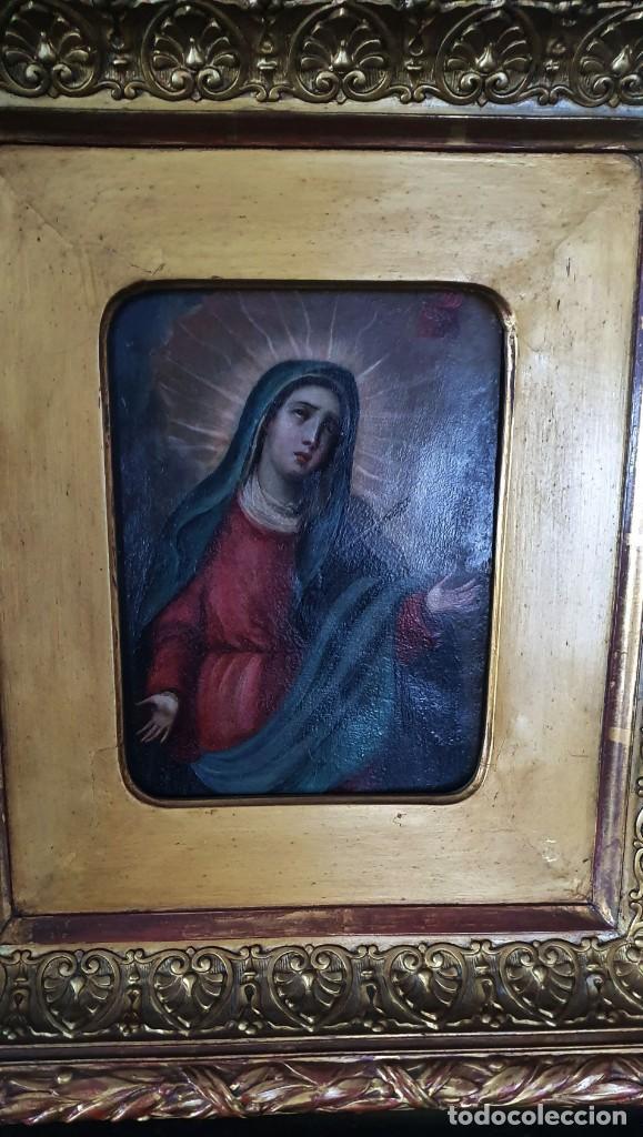 Arte: VIRGEN DOLOROSA - SIGLO XVIII - COBRE - 40 X 36 CM - GRAN MARCO. - Foto 8 - 218894163