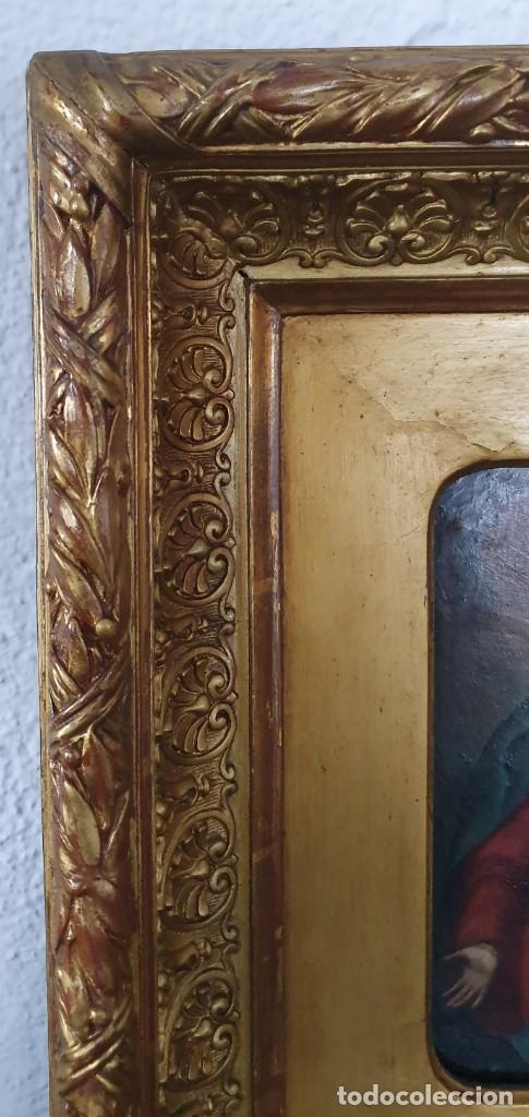 Arte: VIRGEN DOLOROSA - SIGLO XVIII - COBRE - 40 X 36 CM - GRAN MARCO. - Foto 11 - 218894163