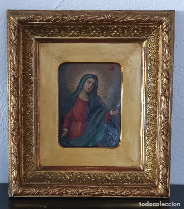 Arte: VIRGEN DOLOROSA - SIGLO XVIII - COBRE - 40 X 36 CM - GRAN MARCO. - Foto 15 - 218894163