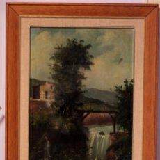 Arte: J. RIBERA, ESCUELA VALENCIANA S.XIX-XX, PAISAJE RURAL. (NECESITA RESTAURACIÓN) ENMARCADO 56X84CM. Lote 218900788