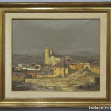 Arte: VISTA DE PUEBLO CASTELLANO. OLEO S/ LIENZO. FIRMADO ALONSO. Lote 218930116