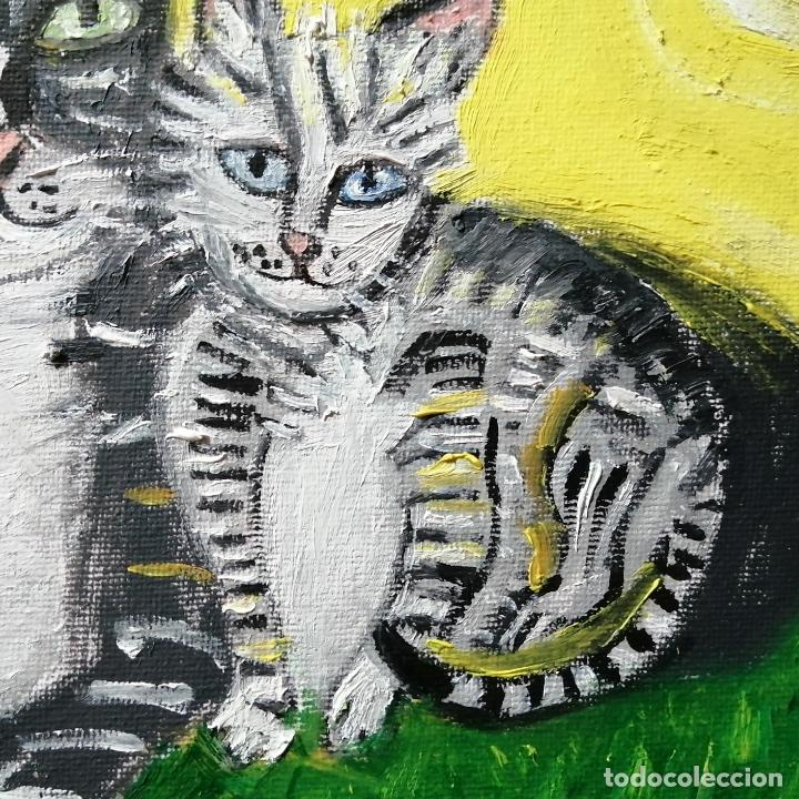 Arte: Cuadro, pintura naif, gatos, gatitos, óleo sobre tela 30 x 24 cmtrs. - Foto 2 - 218940413