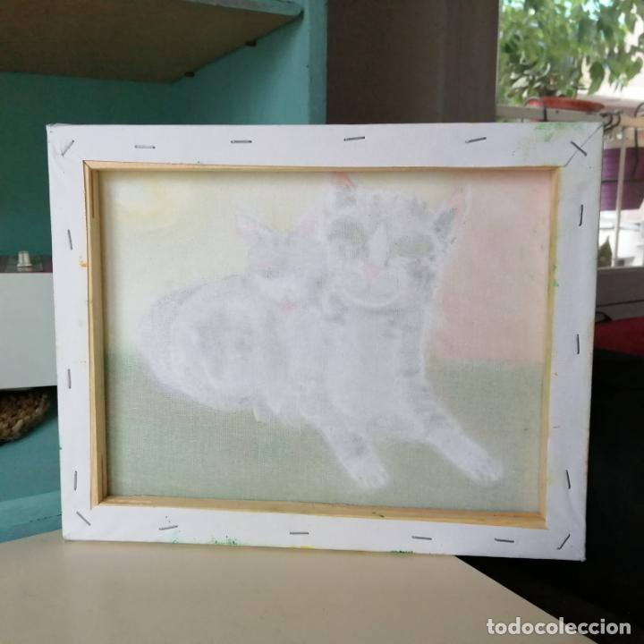 Arte: Cuadro, pintura naif, gatos, gatitos, óleo sobre tela 30 x 24 cmtrs. - Foto 5 - 218940413