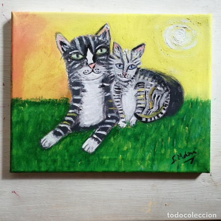 Arte: Cuadro, pintura naif, gatos, gatitos, óleo sobre tela 30 x 24 cmtrs. - Foto 6 - 218940413
