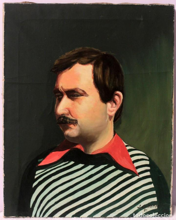 JORGE GUILLEMOT. GRUPO PONT DE FUSTA . RETRATO, OLEO SOBRE LIENZO. 51X41CM (Arte - Pintura - Pintura al Óleo Contemporánea )