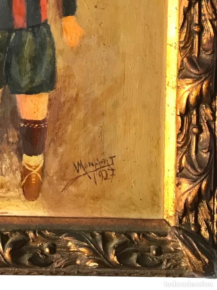 Arte: ANTIGUA PINTURA , OLEO DE UN JUGADOR DEL BARCELONA DATADO 1927 , CON DEDICATORIA DE UN REPUBLICANO - Foto 3 - 219002781