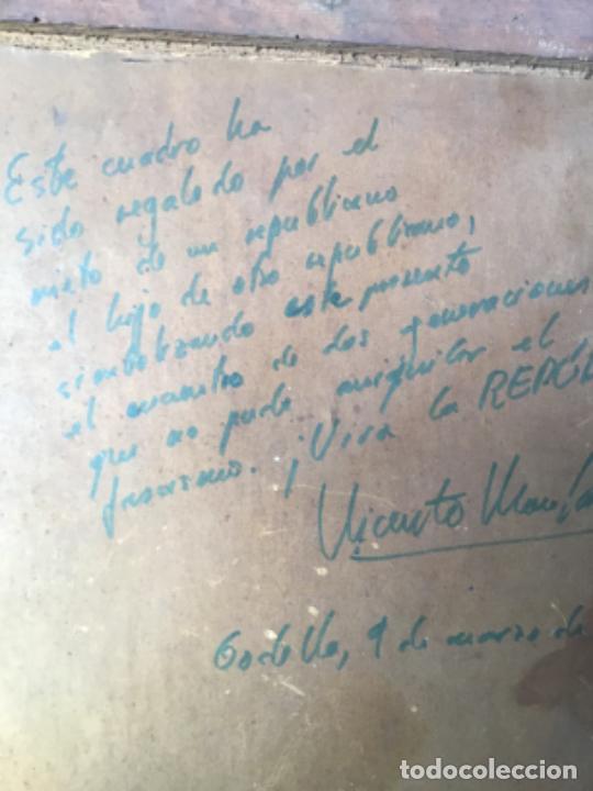 Arte: ANTIGUA PINTURA , OLEO DE UN JUGADOR DEL BARCELONA DATADO 1927 , CON DEDICATORIA DE UN REPUBLICANO - Foto 7 - 219002781