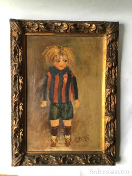 ANTIGUA PINTURA , OLEO DE UN JUGADOR DEL BARCELONA DATADO 1927 , CON DEDICATORIA DE UN REPUBLICANO (Arte - Pintura - Pintura al Óleo Moderna siglo XIX)