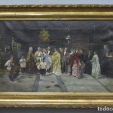 Arte: BAUTIZO O MISA DE PARIDA. OLEO S/ LIENZO. FIRMADO. 1870-1890. Lote 219008085