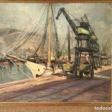 Arte: VISTA DEL PUERTO DE BARCELONA. OLEO SOBRE TABLA FIRMADO MARGENET 1950'S.. Lote 219047296