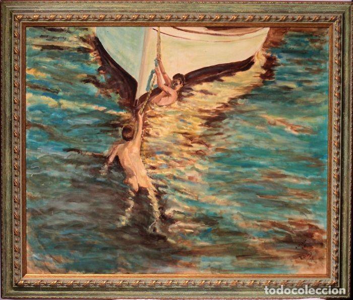 JOAQUIN SOROLLA (1863-1923) DESPUÉS DE - EL BOTE BLANCO. FIRMADO. ENMARCADO 84×71CM (Arte - Pintura - Pintura al Óleo Contemporánea )