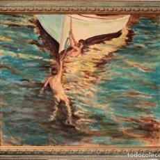 Arte: JOAQUIN SOROLLA (1863-1923) DESPUÉS DE - EL BOTE BLANCO. FIRMADO. ENMARCADO 84×71CM. Lote 219065043