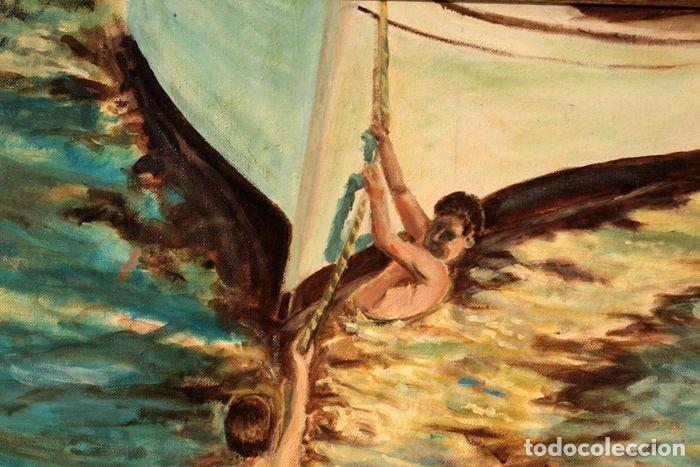 Arte: Joaquin Sorolla (1863-1923) después de - El bote blanco. Firmado. Enmarcado 84×71cm - Foto 2 - 219065043