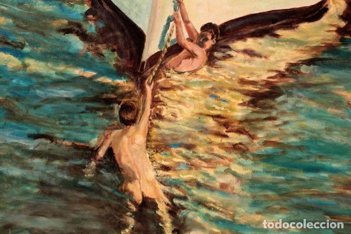 Arte: Joaquin Sorolla (1863-1923) después de - El bote blanco. Firmado. Enmarcado 84×71cm - Foto 6 - 219065043